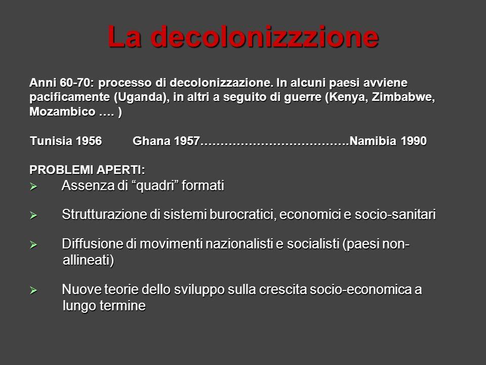 La decolonizzzione Anni 60-70: processo di decolonizzazione. In alcuni paesi avviene pacificamente (Uganda), in altri a seguito di guerre (Kenya, Zimb
