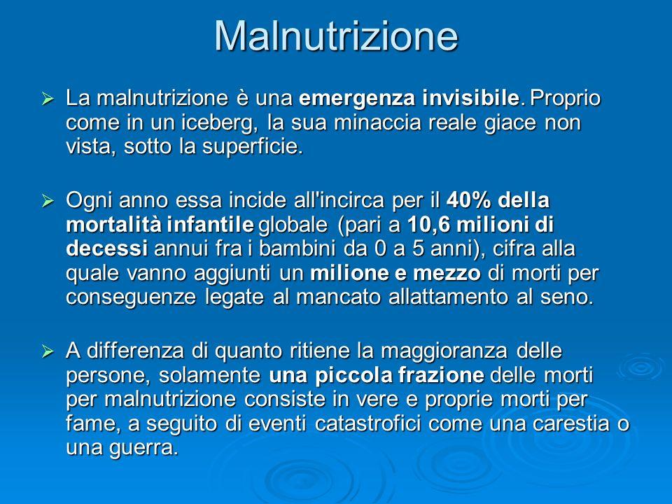 Malnutrizione La malnutrizione è una emergenza invisibile. Proprio come in un iceberg, la sua minaccia reale giace non vista, sotto la superficie. La