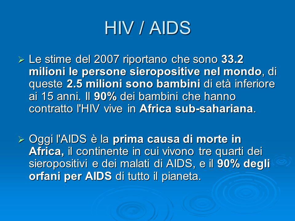 HIV / AIDS Le stime del 2007 riportano che sono 33.2 milioni le persone sieropositive nel mondo, di queste 2.5 milioni sono bambini di età inferiore a