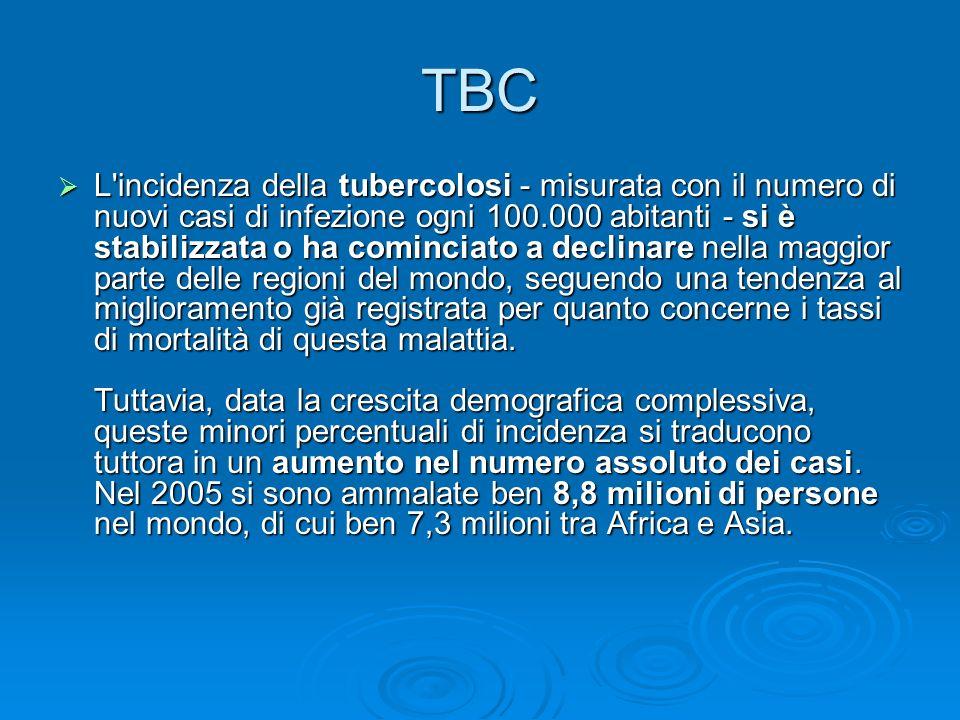 TBC L'incidenza della tubercolosi - misurata con il numero di nuovi casi di infezione ogni 100.000 abitanti - si è stabilizzata o ha cominciato a decl
