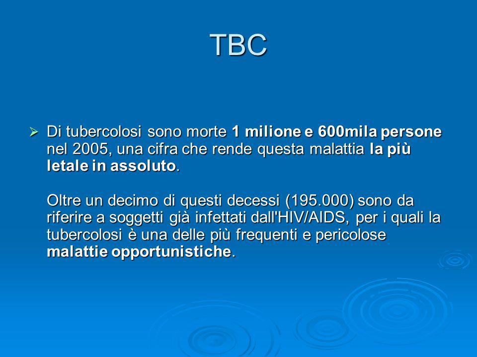 TBC Di tubercolosi sono morte 1 milione e 600mila persone nel 2005, una cifra che rende questa malattia la più letale in assoluto. Oltre un decimo di