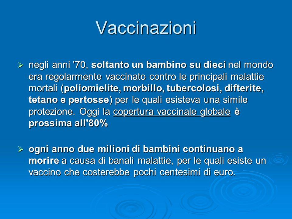 Vaccinazioni negli anni '70, soltanto un bambino su dieci nel mondo era regolarmente vaccinato contro le principali malattie mortali (poliomielite, mo