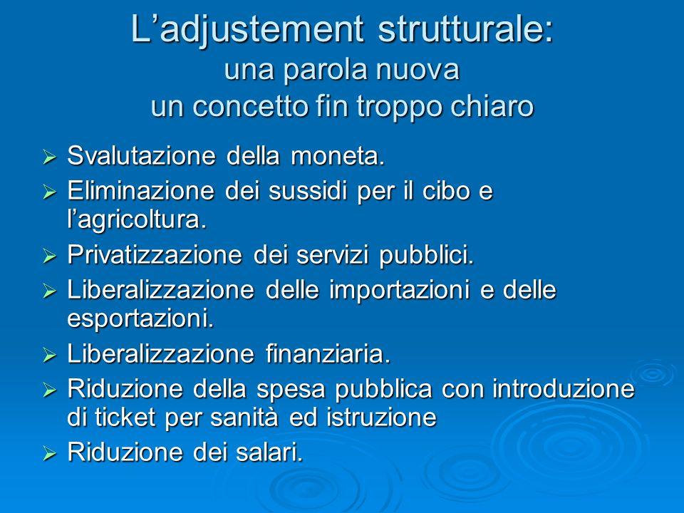 Ladjustement strutturale: una parola nuova un concetto fin troppo chiaro Svalutazione della moneta. Svalutazione della moneta. Eliminazione dei sussid