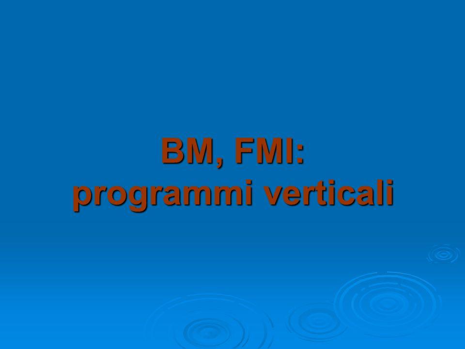 BM, FMI: programmi verticali