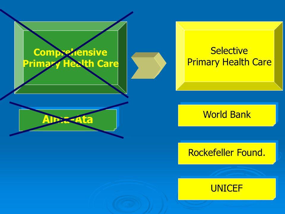 Selective Primary Health Care Comprehensive Primary Health Care Rockefeller Found. World Bank UNICEF Alma-Ata