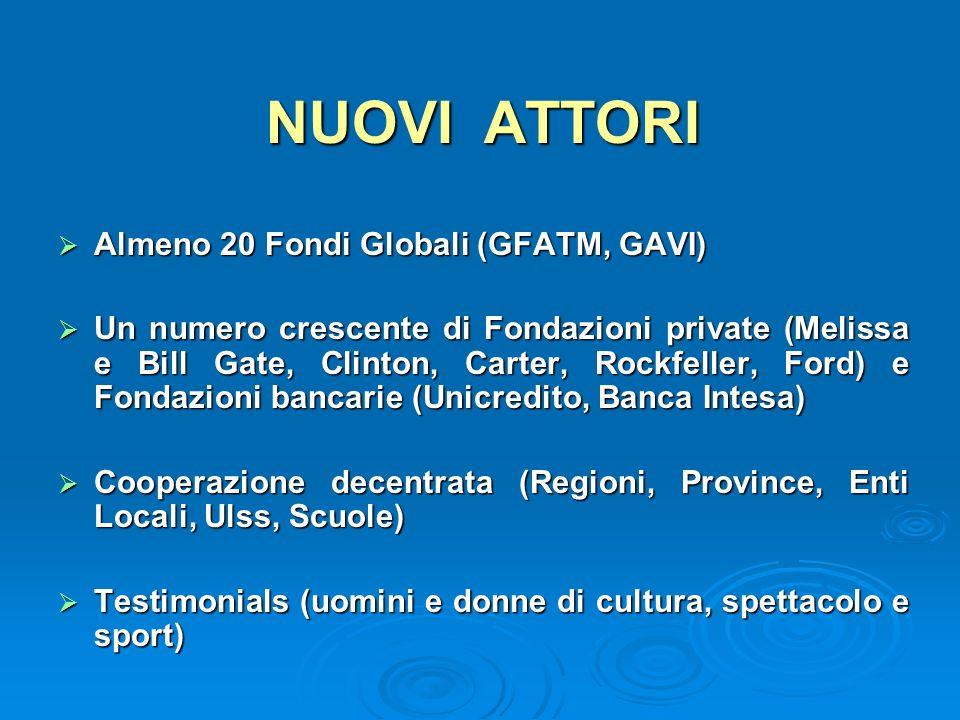 NUOVI ATTORI Almeno 20 Fondi Globali (GFATM, GAVI) Almeno 20 Fondi Globali (GFATM, GAVI) Un numero crescente di Fondazioni private (Melissa e Bill Gat