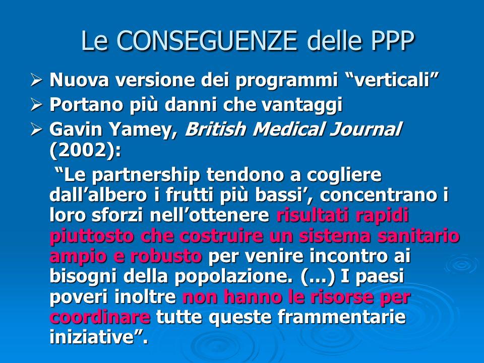 Le CONSEGUENZE delle PPP Nuova versione dei programmi verticali Nuova versione dei programmi verticali Portano più danni che vantaggi Portano più dann