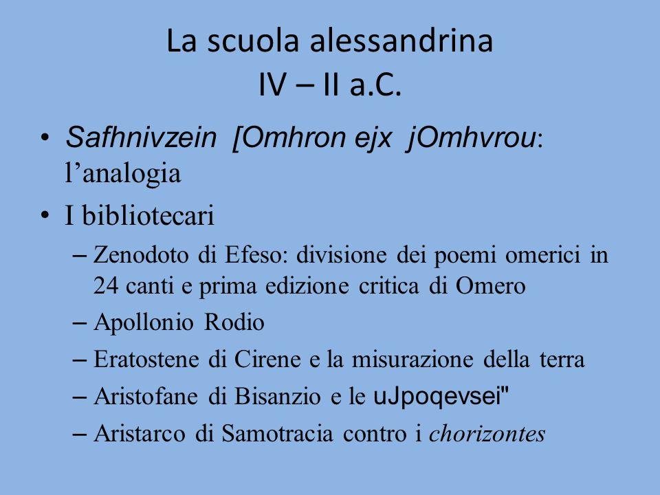La scuola alessandrina IV – II a.C. Safhnivzein [Omhron ejx jOmhvrou : lanalogia I bibliotecari – Zenodoto di Efeso: divisione dei poemi omerici in 24