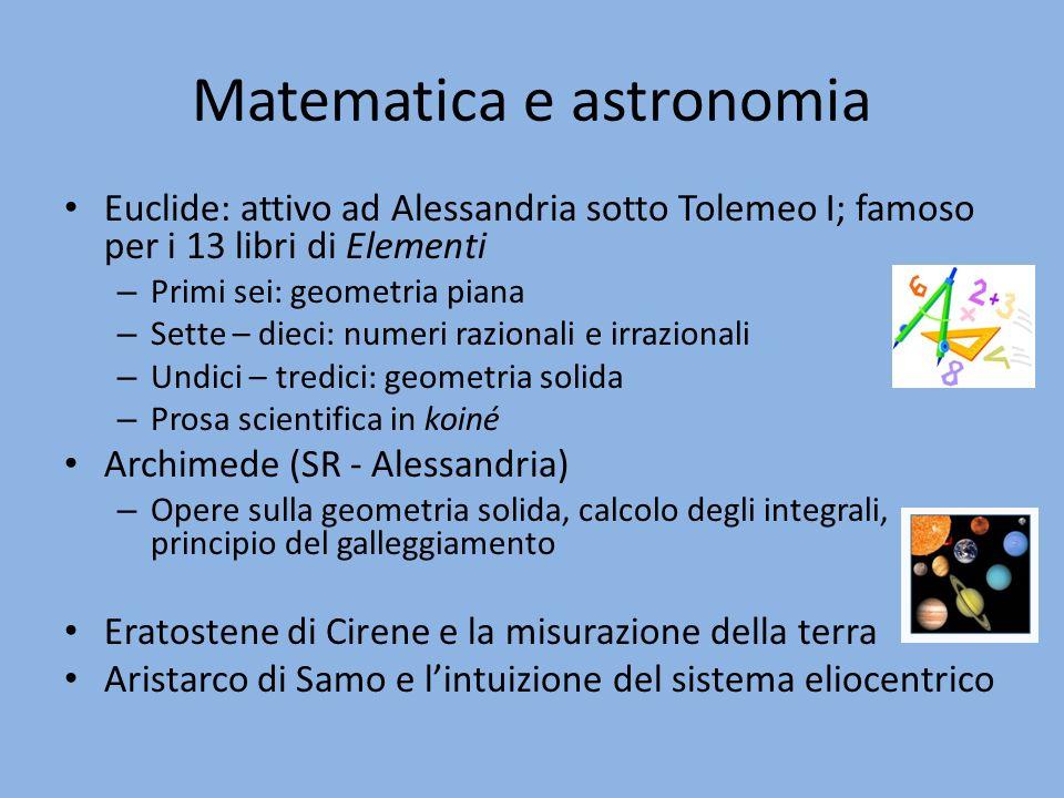 Matematica e astronomia Euclide: attivo ad Alessandria sotto Tolemeo I; famoso per i 13 libri di Elementi – Primi sei: geometria piana – Sette – dieci