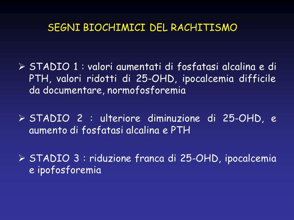 SEGNI BIOCHIMICI DEL RACHITISMO STADIO 1 : valori aumentati di fosfatasi alcalina e di PTH, valori ridotti di 25-OHD, ipocalcemia difficile da documen