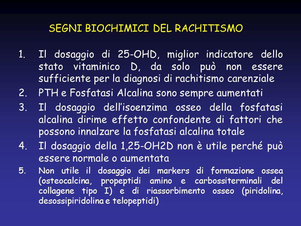 SEGNI BIOCHIMICI DEL RACHITISMO 1.Il dosaggio di 25-OHD, miglior indicatore dello stato vitaminico D, da solo può non essere sufficiente per la diagno