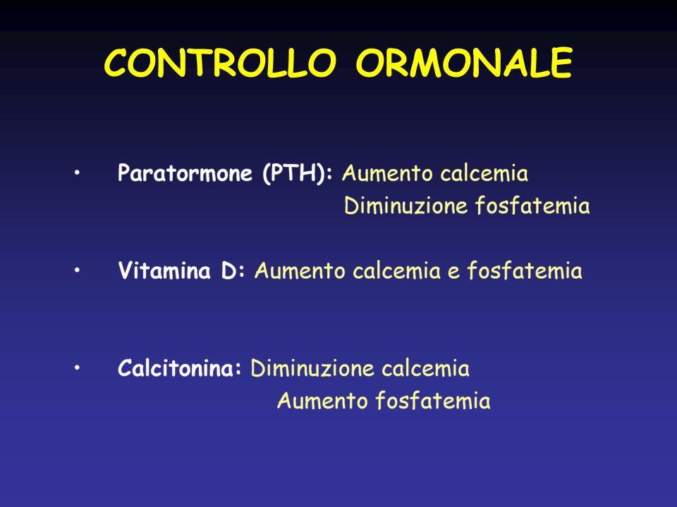 SEGNI BIOCHIMICI DEL RACHITISMO STADIO 1 : valori aumentati di fosfatasi alcalina e di PTH, valori ridotti di 25-OHD, ipocalcemia difficile da documentare, normofosforemia STADIO 2 : ulteriore diminuzione di 25-OHD, e aumento di fosfatasi alcalina e PTH STADIO 3 : riduzione franca di 25-OHD, ipocalcemia e ipofosforemia