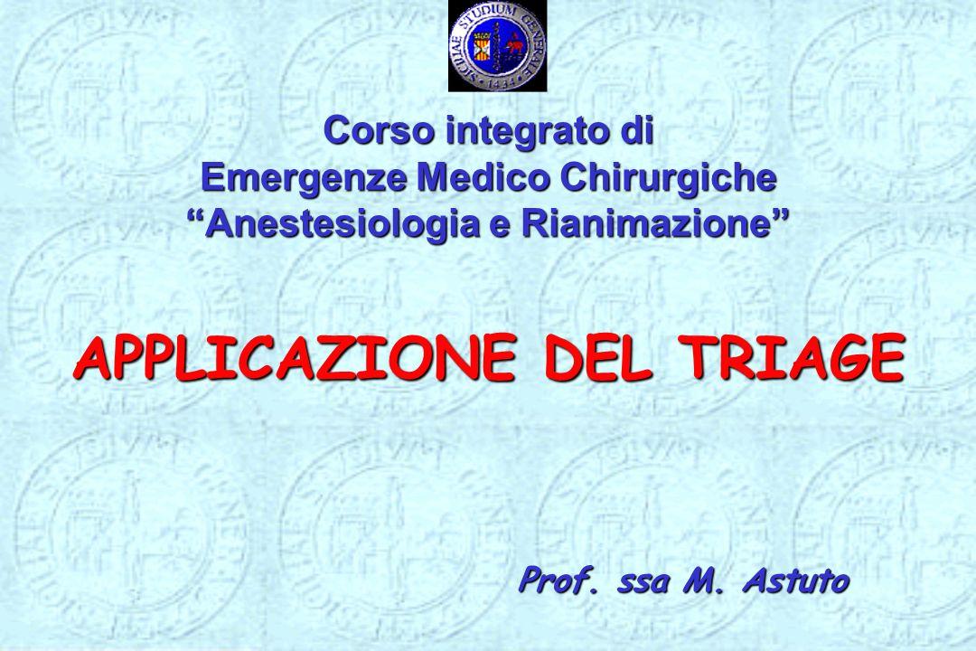 Corso integrato di Emergenze Medico ChirurgicheAnestesiologia e Rianimazione APPLICAZIONE DEL TRIAGE Prof. ssa M. Astuto