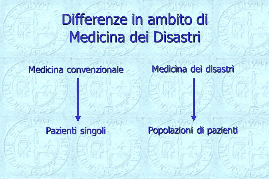 Differenze in ambito di Medicina dei Disastri Medicina convenzionale Pazienti singoli Medicina dei disastri Popolazioni di pazienti