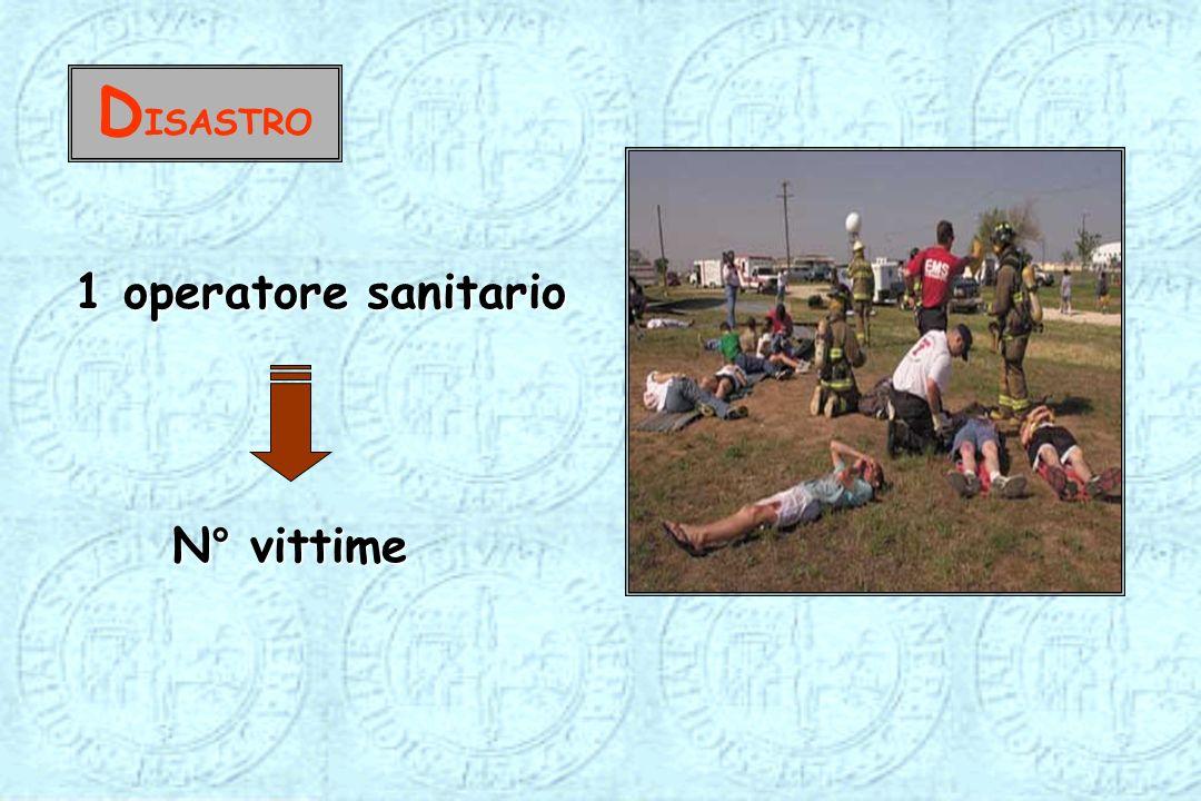 D ISASTRO 1 operatore sanitario N° vittime