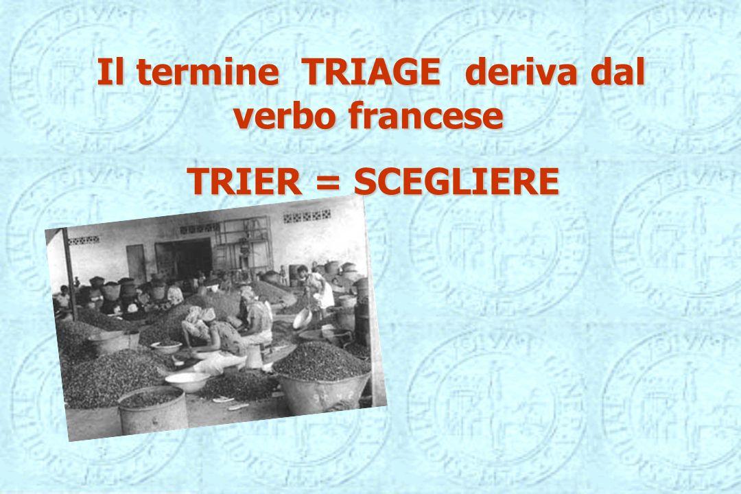 Il termine TRIAGE deriva dal verbo francese TRIER = SCEGLIERE TRIER = SCEGLIERE
