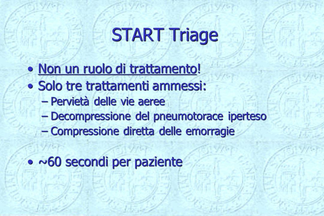 START Triage Non un ruolo di trattamento!Non un ruolo di trattamento! Solo tre trattamenti ammessi:Solo tre trattamenti ammessi: –Pervietà delle vie a