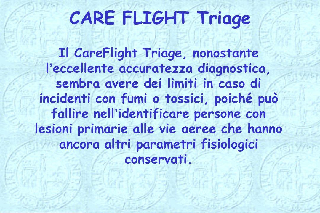 Il CareFlight Triage, nonostante leccellente accuratezza diagnostica, sembra avere dei limiti in caso di incidenti con fumi o tossici, poiché può fall