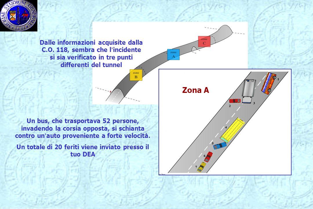 Zona A Dalle informazioni acquisite dalla C.O. 118, sembra che lincidente si sia verificato in tre punti differenti del tunnel Un bus, che trasportava