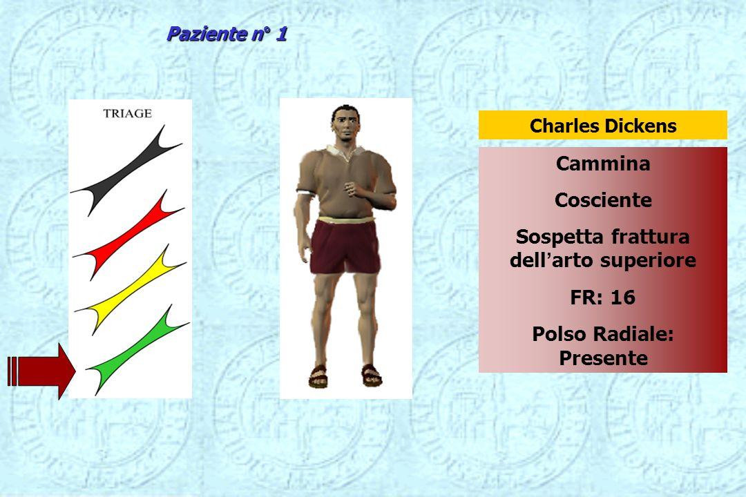 Cammina Cosciente Sospetta frattura dellarto superiore FR: 16 Polso Radiale: Presente Charles Dickens Paziente n° 1