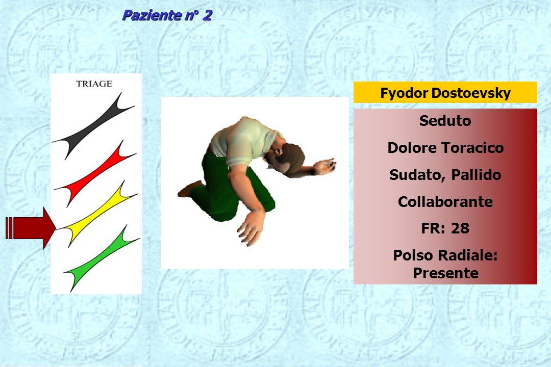 Seduto Dolore Toracico Sudato, Pallido Collaborante FR: 28 Polso Radiale: Presente Fyodor Dostoevsky Paziente n° 2