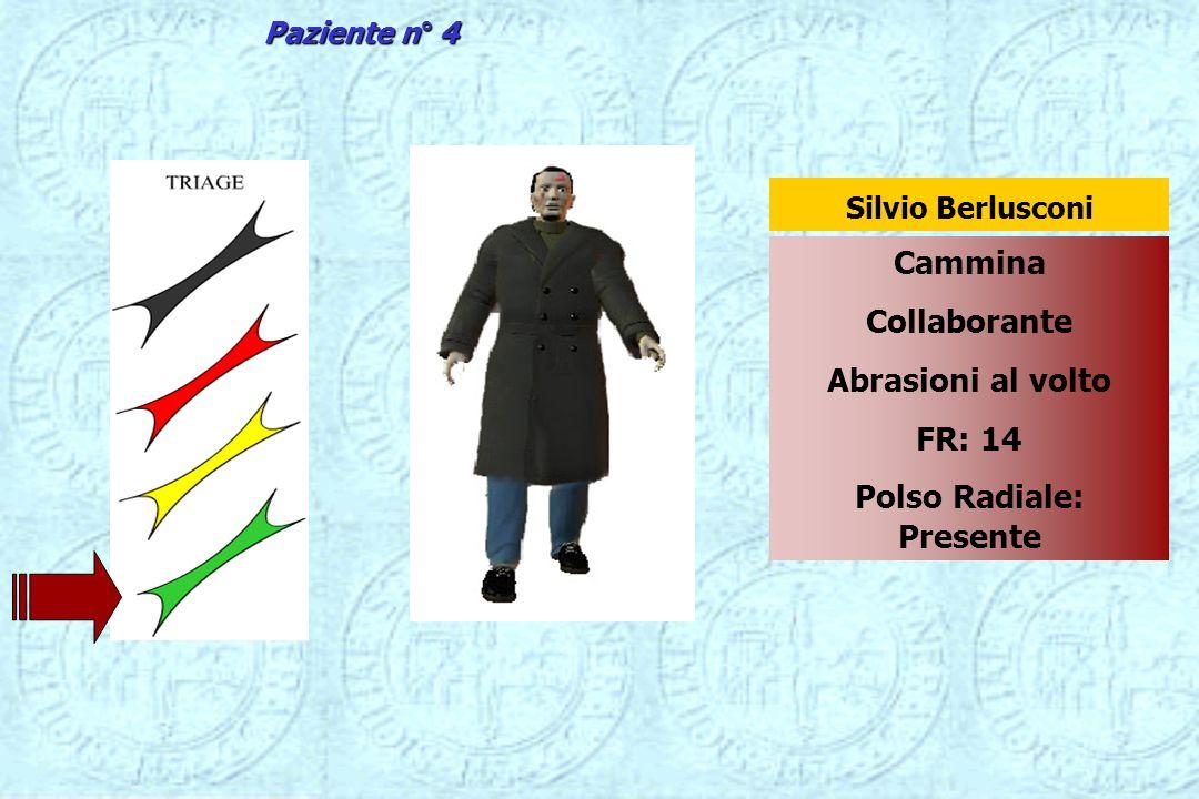 Cammina Collaborante Abrasioni al volto FR: 14 Polso Radiale: Presente Silvio Berlusconi Paziente n° 4