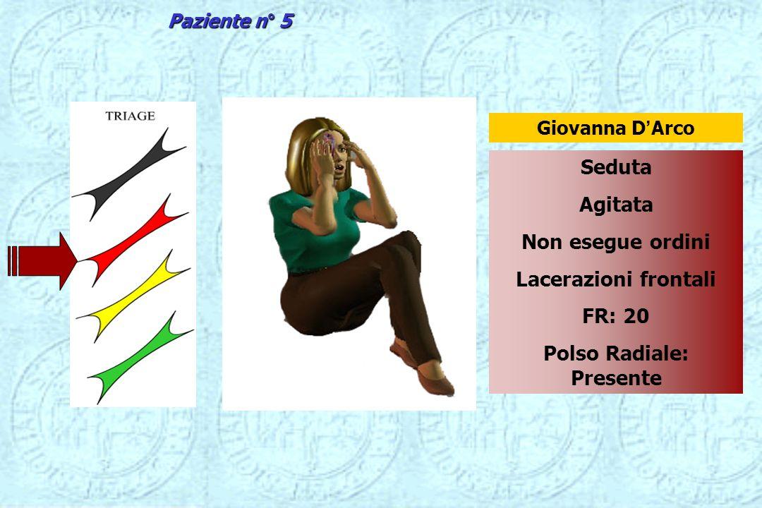 Seduta Agitata Non esegue ordini Lacerazioni frontali FR: 20 Polso Radiale: Presente Giovanna DArco Paziente n° 5