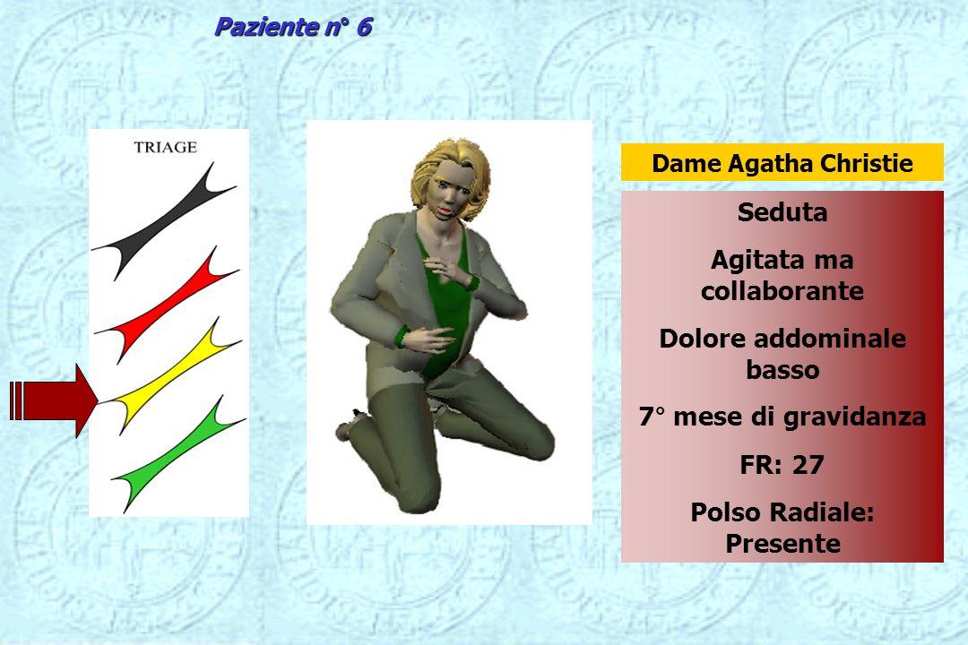 Seduta Agitata ma collaborante Dolore addominale basso 7° mese di gravidanza FR: 27 Polso Radiale: Presente Dame Agatha Christie Paziente n° 6