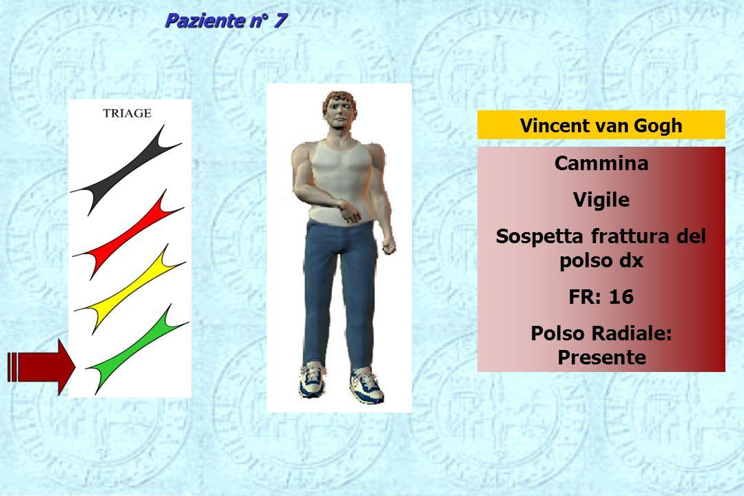 Cammina Vigile Sospetta frattura del polso dx FR: 16 Polso Radiale: Presente Vincent van Gogh Paziente n° 7