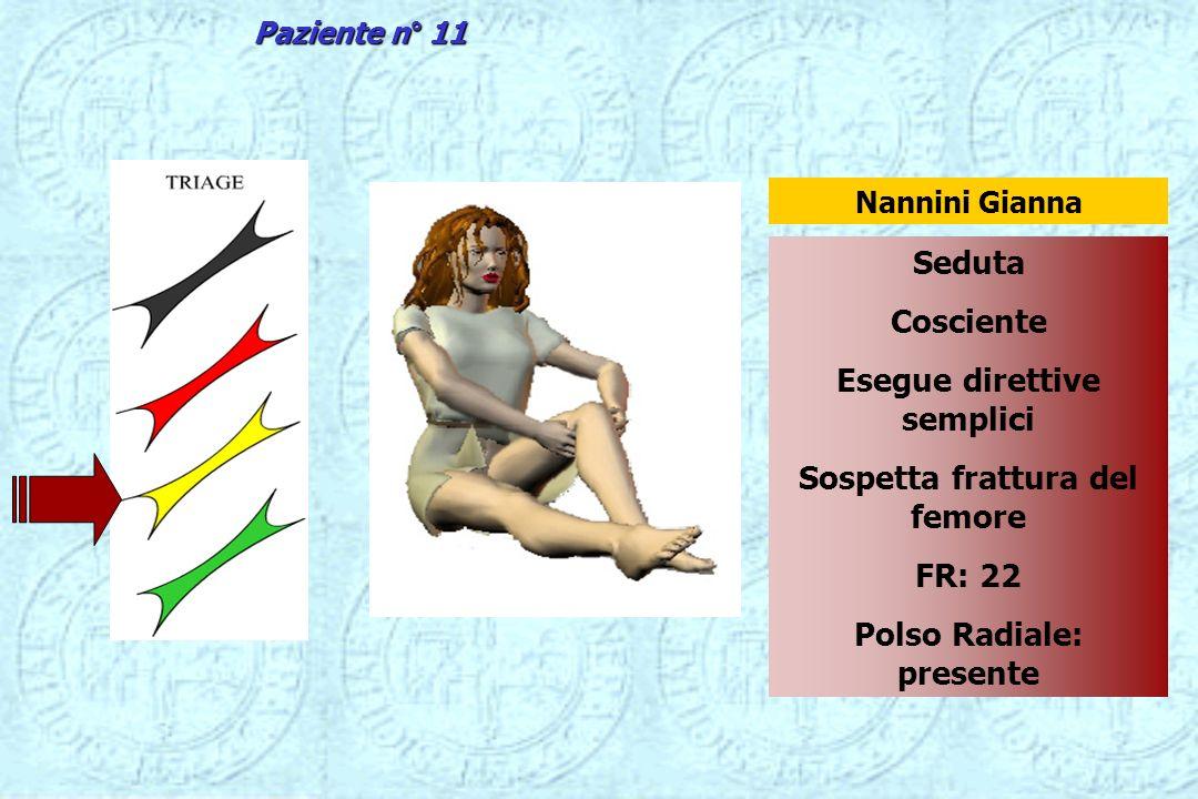 Seduta Cosciente Esegue direttive semplici Sospetta frattura del femore FR: 22 Polso Radiale: presente Nannini Gianna Paziente n° 11