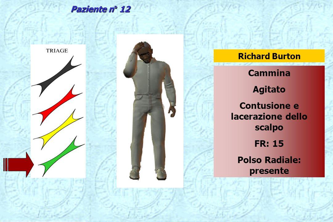 Cammina Agitato Contusione e lacerazione dello scalpo FR: 15 Polso Radiale: presente Richard Burton Paziente n° 12
