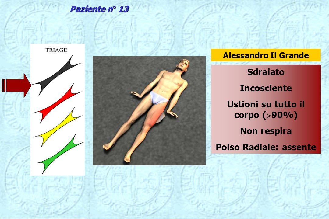 Sdraiato Incosciente Ustioni su tutto il corpo ( 90%) Non respira Polso Radiale: assente Alessandro Il Grande Paziente n° 13