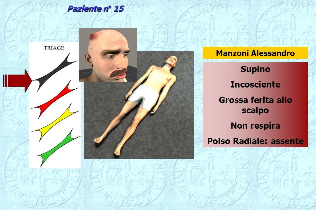 Supino Incosciente Grossa ferita allo scalpo Non respira Polso Radiale: assente Manzoni Alessandro Paziente n° 15