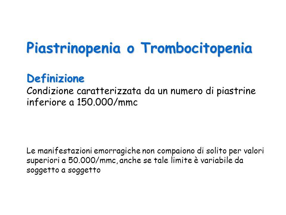 Piastrinopenia o Trombocitopenia Definizione Condizione caratterizzata da un numero di piastrine inferiore a 150.000/mmc Le manifestazioni emorragiche non compaiono di solito per valori superiori a 50.000/mmc, anche se tale limite è variabile da soggetto a soggetto