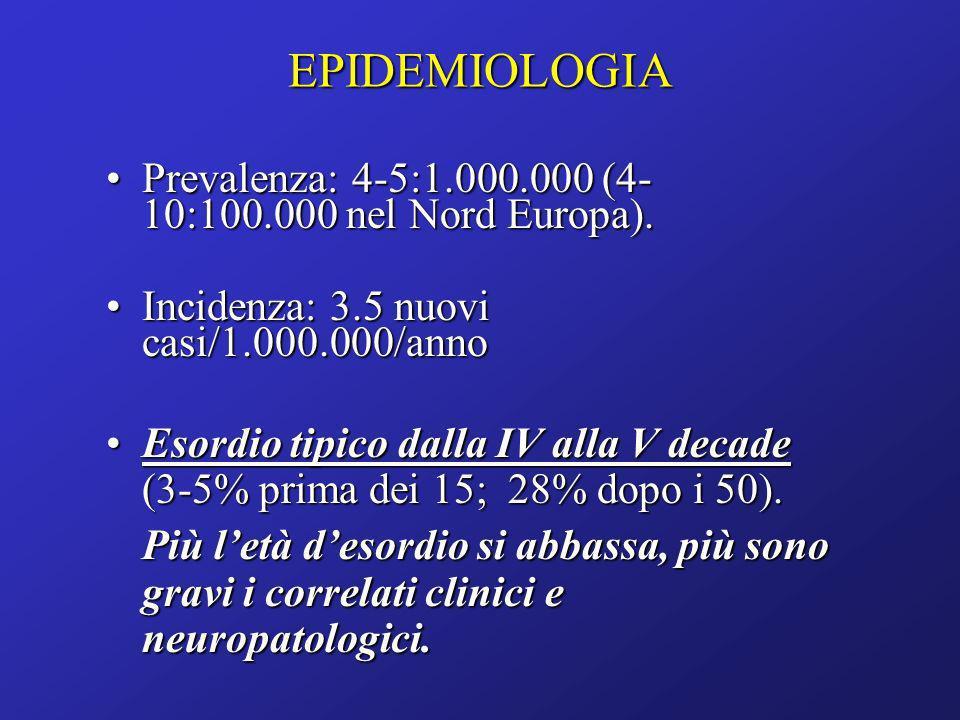 EPIDEMIOLOGIA Prevalenza: 4-5:1.000.000 (4- 10:100.000 nel Nord Europa).Prevalenza: 4-5:1.000.000 (4- 10:100.000 nel Nord Europa). Incidenza: 3.5 nuov