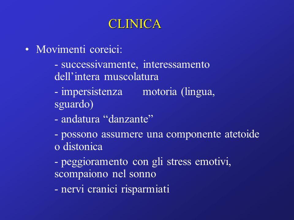 Movimenti coreici: - successivamente, interessamento dellintera muscolatura - impersistenza motoria (lingua, sguardo) - andatura danzante - possono as