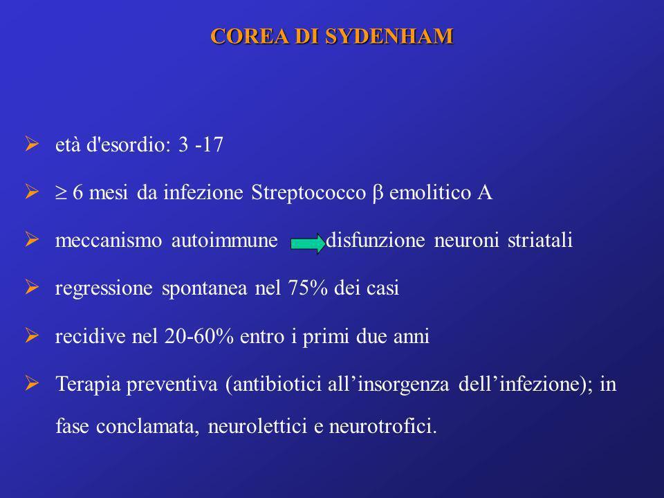 età d'esordio: 3 -17 6 mesi da infezione Streptococco emolitico A meccanismo autoimmune disfunzione neuroni striatali regressione spontanea nel 75% de
