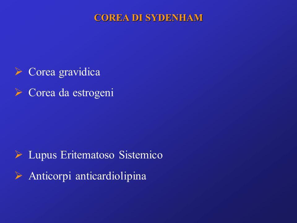 Corea gravidica Corea da estrogeni Lupus Eritematoso Sistemico Anticorpi anticardiolipina COREA DI SYDENHAM