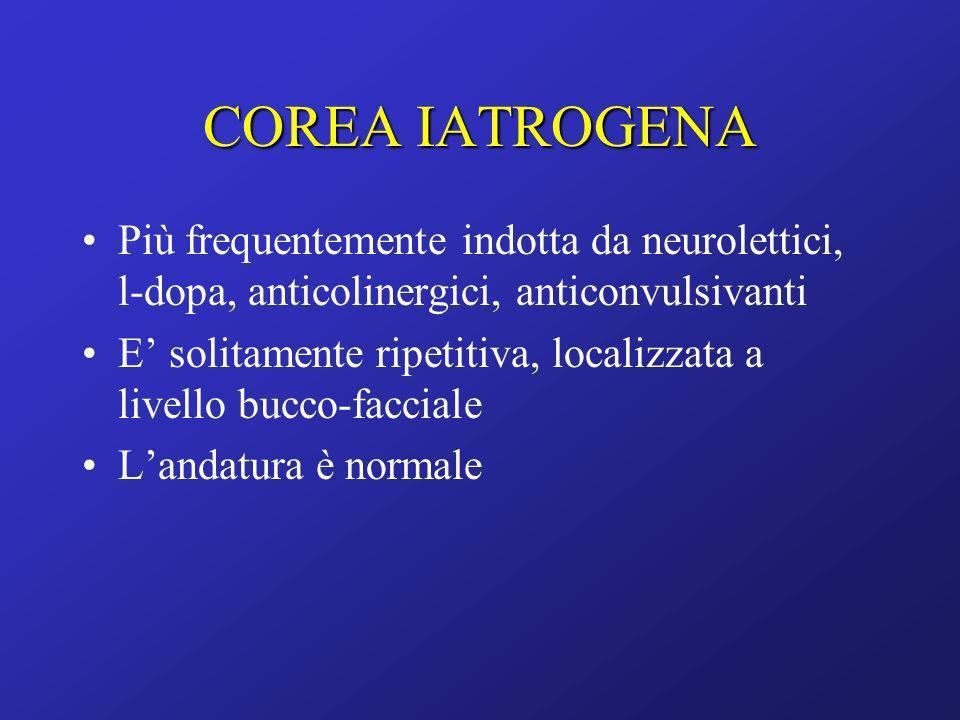Più frequentemente indotta da neurolettici, l-dopa, anticolinergici, anticonvulsivanti E solitamente ripetitiva, localizzata a livello bucco-facciale