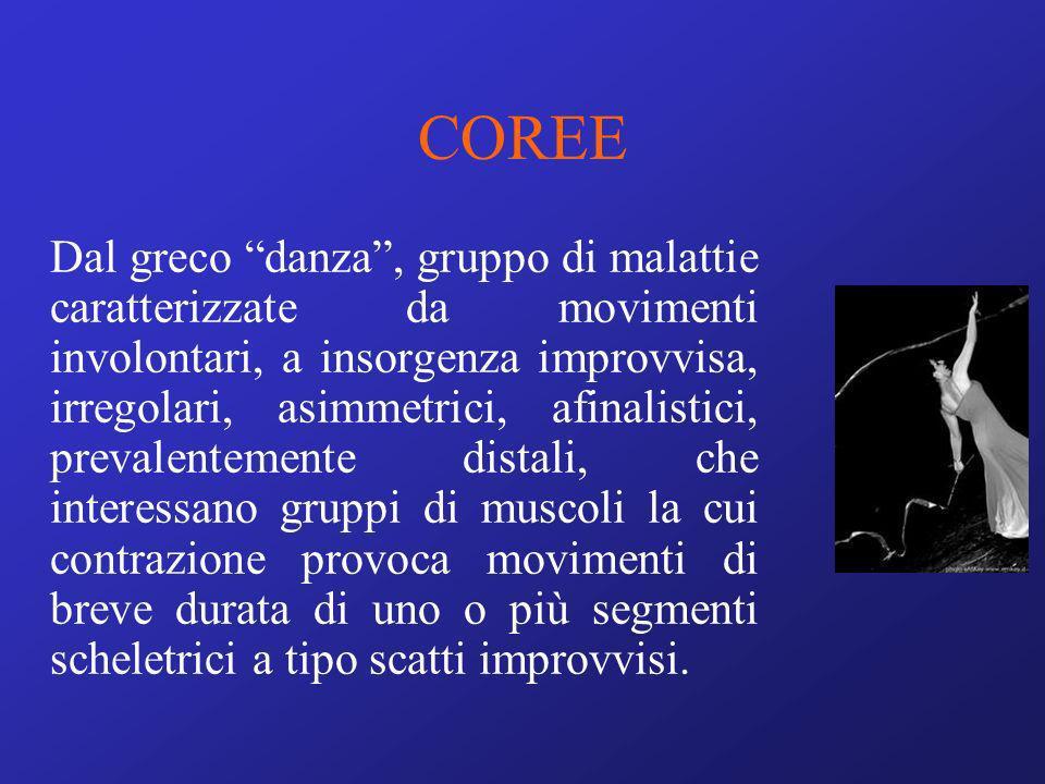 COREE Dal greco danza, gruppo di malattie caratterizzate da movimenti involontari, a insorgenza improvvisa, irregolari, asimmetrici, afinalistici, pre