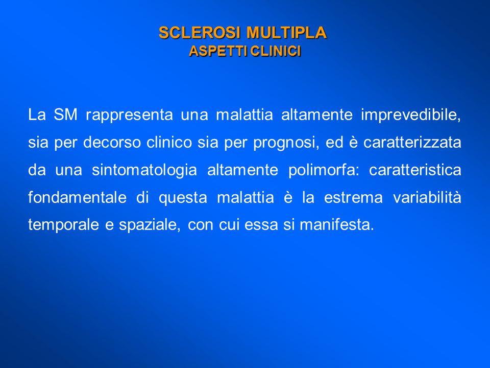 SCLEROSI MULTIPLA ASPETTI CLINICI La SM rappresenta una malattia altamente imprevedibile, sia per decorso clinico sia per prognosi, ed è caratterizzat