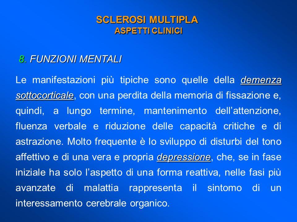 SCLEROSI MULTIPLA ASPETTI CLINICI 8.FUNZIONI MENTALI demenza sottocorticale depressione Le manifestazioni più tipiche sono quelle della demenza sottoc