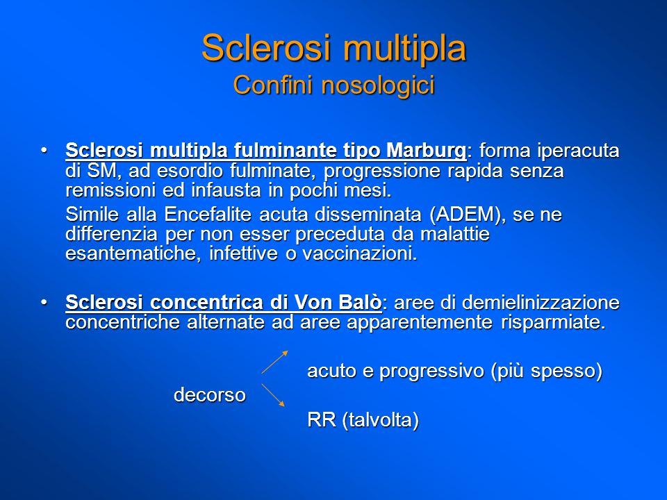 Sclerosi multipla fulminante tipo Marburg: forma iperacuta di SM, ad esordio fulminate, progressione rapida senza remissioni ed infausta in pochi mesi