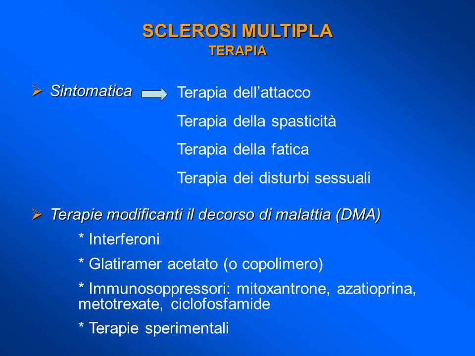 SCLEROSI MULTIPLA TERAPIA Sintomatica Sintomatica Terapie modificanti il decorso di malattia (DMA) Terapie modificanti il decorso di malattia (DMA) *