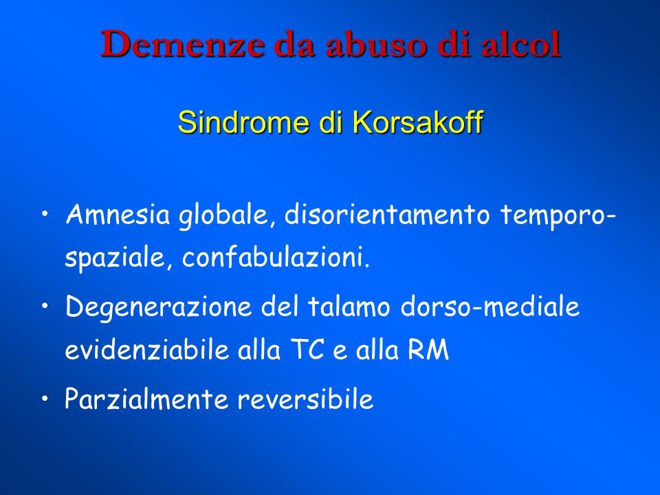 Demenze da abuso di alcol Sindrome di Korsakoff Amnesia globale, disorientamento temporo- spaziale, confabulazioni.