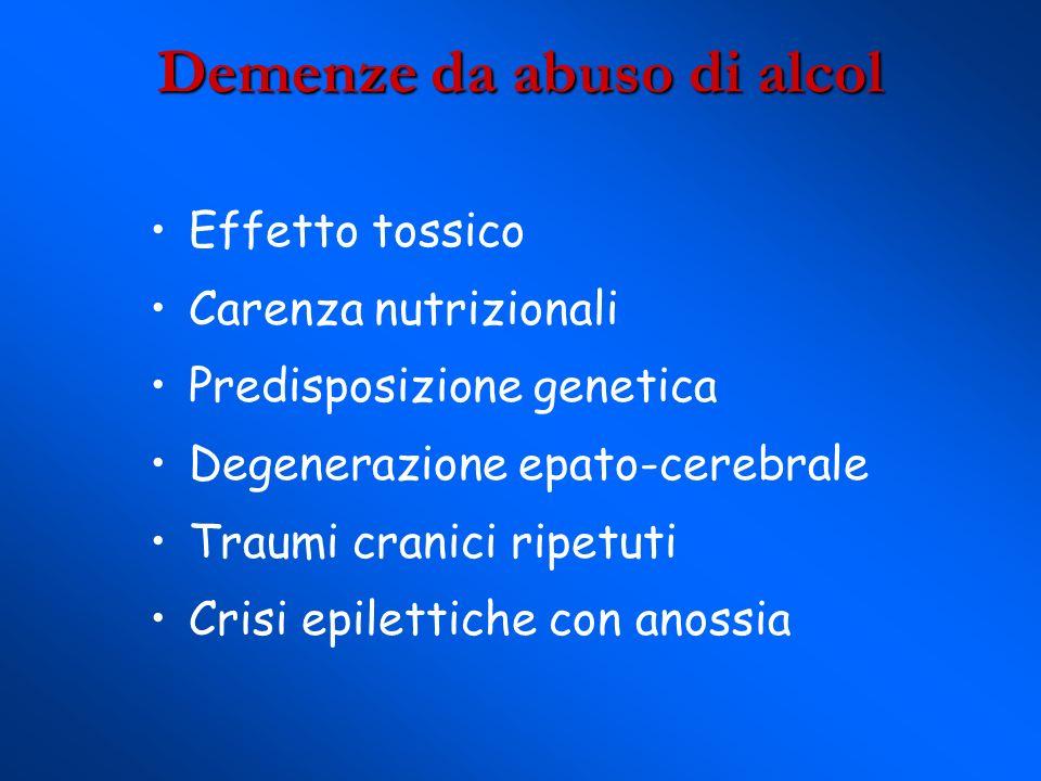 Demenze da abuso di alcol Effetto tossico Carenza nutrizionali Predisposizione genetica Degenerazione epato-cerebrale Traumi cranici ripetuti Crisi epilettiche con anossia
