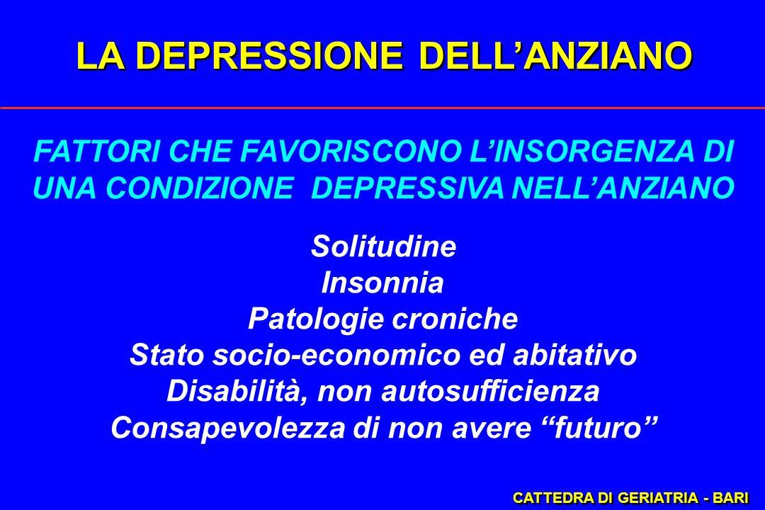 LA DEPRESSIONE DELLANZIANO CATTEDRA DI GERIATRIA - BARI FATTORI CHE FAVORISCONO LINSORGENZA DI UNA CONDIZIONE DEPRESSIVA NELLANZIANO Solitudine Insonn