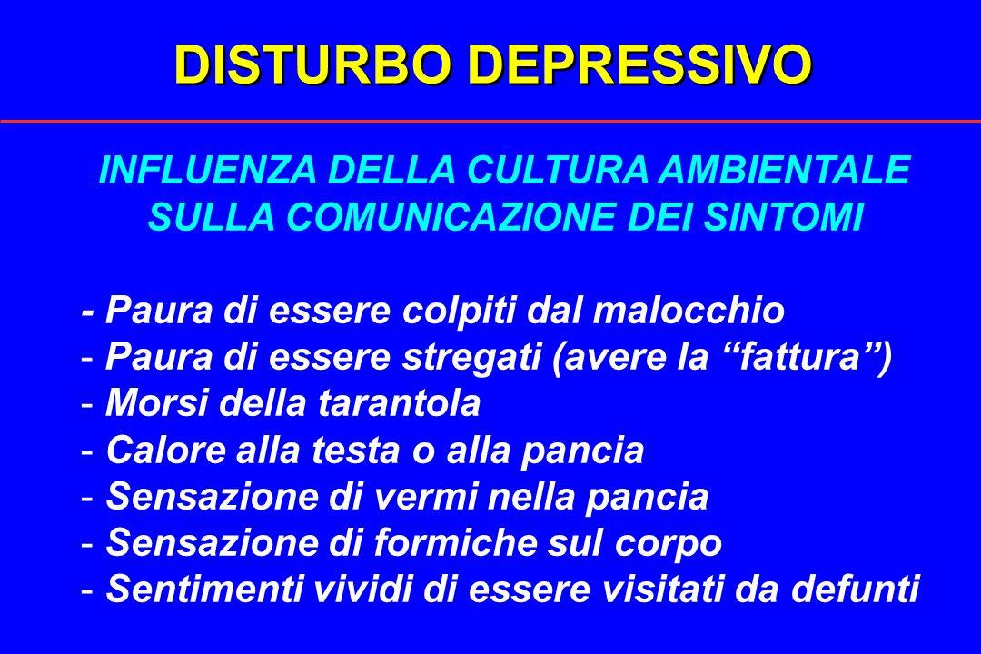 DISTURBO DEPRESSIVO INFLUENZA DELLA CULTURA AMBIENTALE SULLA COMUNICAZIONE DEI SINTOMI - Paura di essere colpiti dal malocchio - Paura di essere streg