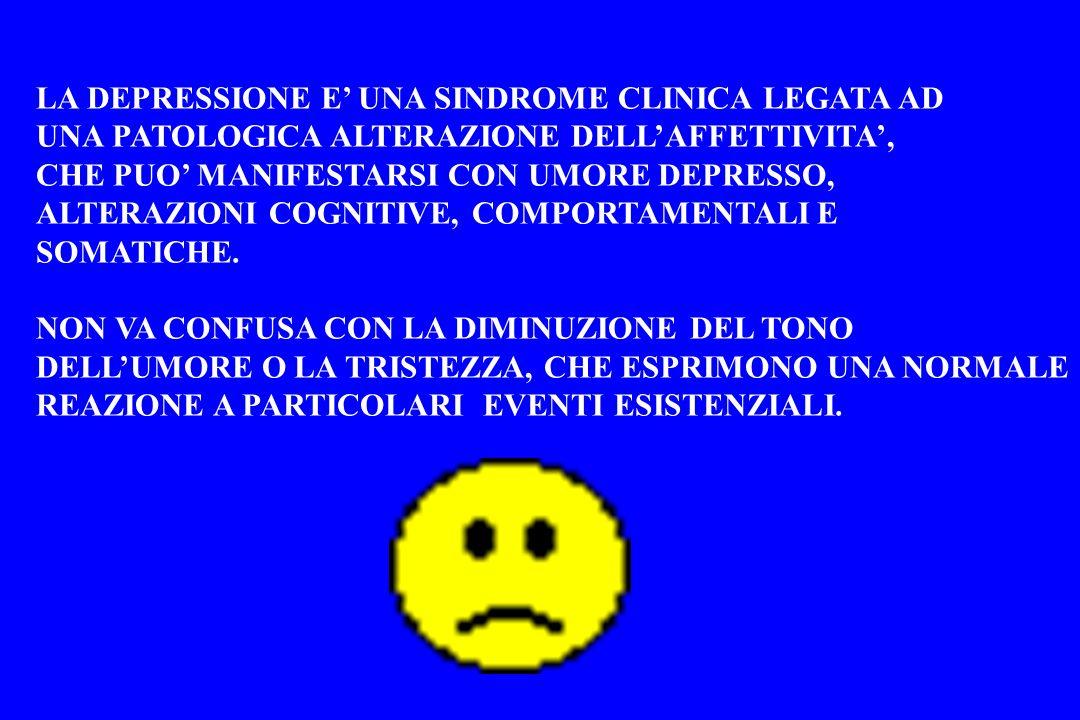 LA DEPRESSIONE E UNA SINDROME CLINICA LEGATA AD UNA PATOLOGICA ALTERAZIONE DELLAFFETTIVITA, CHE PUO MANIFESTARSI CON UMORE DEPRESSO, ALTERAZIONI COGNI