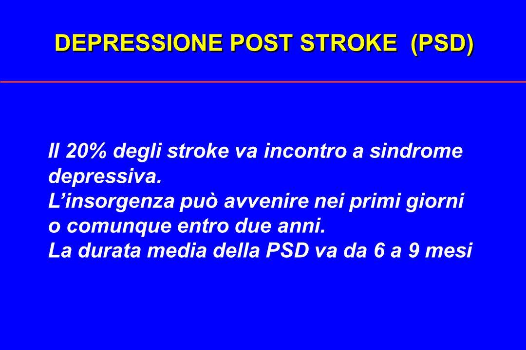 DEPRESSIONE POST STROKE (PSD) Il 20% degli stroke va incontro a sindrome depressiva. Linsorgenza può avvenire nei primi giorni o comunque entro due an